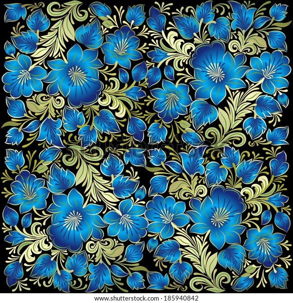 abstract floral ornament with blue flowers on black background