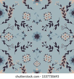 Abstract floral ornamental pattern with small floral abstract elements   symmetrically organised. Shades of blue, beige and dark brown.