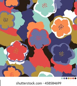 Abstract floral pattern with brushed background