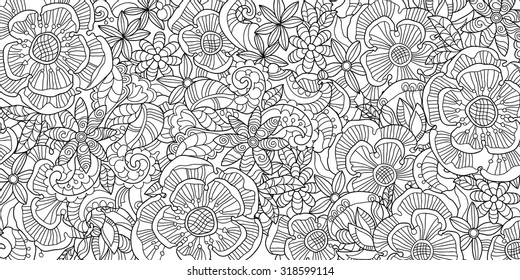 Abstract floral pattern doodle.Black and white.Vector illustration.Henna tattoo doodle.
