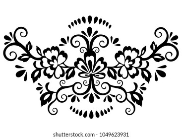 Abstract floral pattern, vector wicker ornament. Black ornate tracery in eastern style with a lot of curls and many details, arabesque, print for fabric, oriental design, isolated on white background