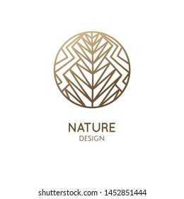 Abstract floral plant logo. Round emblem of flower stylized triangles, geometric simple shapes. Vector badge for design of natural product, flower shop, cosmetic, health, spa, environmental protection
