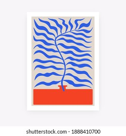 Abstract floral poster. Contemporary organic shapes Matisse style, colorful plant, minimal wall art decor. Graphic vector illustration