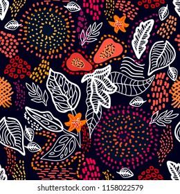 Abstract floral print with tribal motifs. Seamless vector pattern with linear leaves, papaya fruits and dotted circles. Ethnic textile collection.