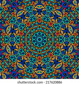 Abstract floral psychedelic hallucination seamless pattern vector illustration