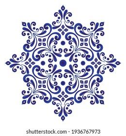 abstract floral round pattern, Circular decorative ornament, blue and white Mandala, pottery art background, Pocelain flower, ceramic, kaleidoscope, yoga, Arabic, tile, plate, floor gzhel vector