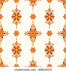 Abstract Floral Seamless Background with Orange Flowers