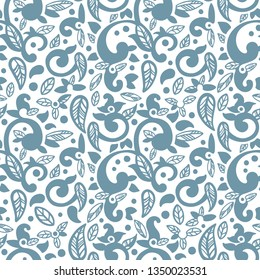 Abstract floral seamless patern in oriental style. Hand drawn abstact ornament with curls, leaves and paisleys.