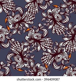 Abstract floral seamless pattern with bird.
