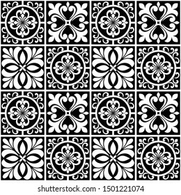 Abstract floral seamless pattern. Black and white. Vector background.