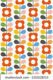 Abstract floral seamless pattern. Nordic style. Vector illustration.