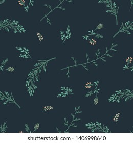 Abstract floral seamless pattern on dark background. Small clover pink wildflowers and spikelets. For fabric, background or wrapping paper. Vector illustration