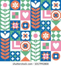 Abstract floral seamless pattern. Scandinavian and folk design. Vector Illustration.