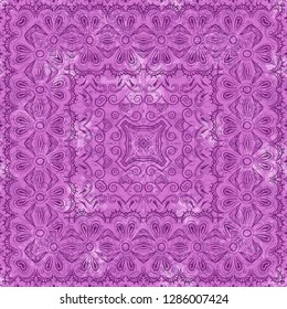 Abstract Floral Seamless Pattern, Symbolical Outline Flowers and Curves. Eps10, Contains Transparencies. Vector