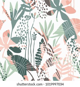 Abstract floral seamless pattern with trendy hand drawn textures. Modern abstract design for paper, cover, fabric, interior decor and other users