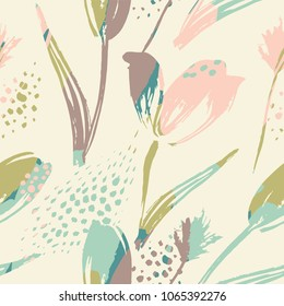 Abstract floral seamless pattern tulips .Trendy hand drawn textures. Modern abstract design for,paper, cover, fabric and other users