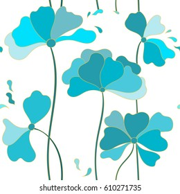 Abstract floral seamless pattern for wallpaper, website or textile printing. Hand drawn endless illustration of blue flowers with the golden outline