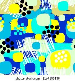Abstract floral seamless rough grunge pattern, modern design template.  Hipster trendy painted style texture, poster with different doodle elements.Urban bright youth textiles sample