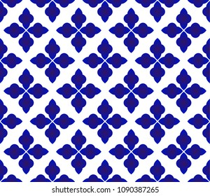 Abstract floral seamless Thai pattern, blue and white modern shape for design, porcelain, chinaware, ceramic, tile, ceiling design, texture, wall, paper and fabric, vector illustration