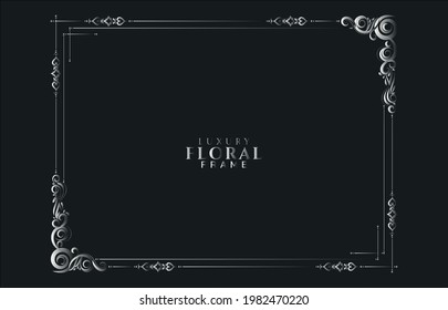 Abstract floral silver frame background vector