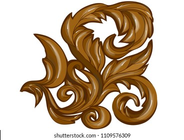 abstract floral swirl. wood carving abstract leaves