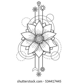 Abstract floral tattoo with lotus and geometric elements on white background. Top view tattoo symbol. Coloring page.