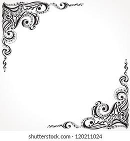 Abstract floral tattoo pattern. Template frame design for card,