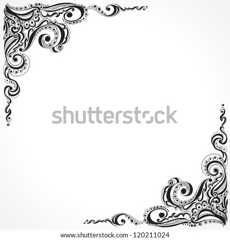 abstract floral tattoo pattern template frame のベクター画像素材