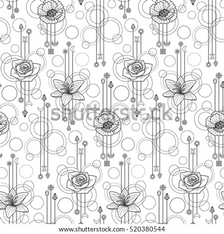 f1fe525c6 Abstract floral techno seamless pattern with poppy, lily, rose and  geometric elements on white background - Vector