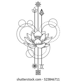 Abstract floral techno tattoo with lotus and geometric elements on white background. Tattoo symbol. Coloring page