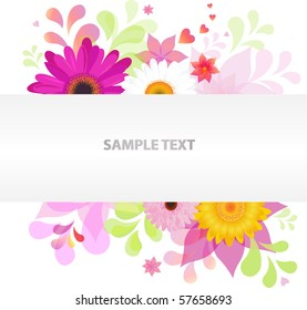 Abstract Floral Vector Background With Colorful Daisies