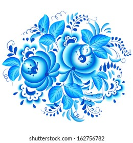Abstract floral vector isolated element in gzhel style