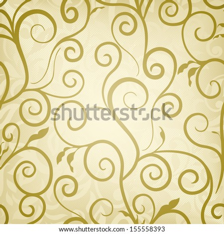 Abstract Floral Wallpaper Golden Colored