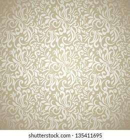 Abstract floral wallpaper, golden-beige light design