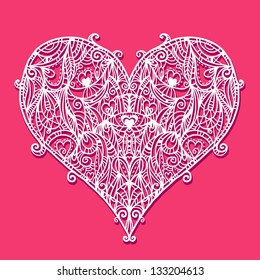 Abstract floral white lace heart on a red background - vector