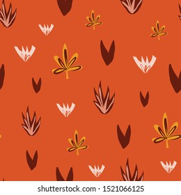 Abstract florals seamless vector doodle background red orange yellow. Flowers and leaves repeating pattern in fall colors. Use for surface pattern design, fabric, Thanksgiving, home decor, gift wrap