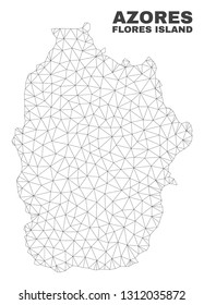 Abstract Flores Island of Azores map isolated on a white background. Triangular mesh model in black color of Flores Island of Azores map.