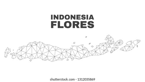 Abstract Flores Islands of Indonesia map isolated on a white background. Triangular mesh model in black color of Flores Islands of Indonesia map.