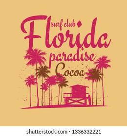 Abstract Florida surf beach poster. Vector illustration