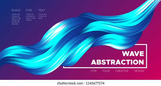 Abstract Flow Background. Wave Fluid Shapes in Blue Color. Trendy Vector Illustration EPS10 for Your Creative Design. Beautiful Interweaving. Flow Poster with Liquid for Business Presentation, Banner.