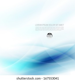 Abstract flow blue and space for your text, vector illustration