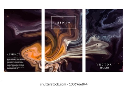 Abstract flow elemnts. Dynamic darl yellow shapes with liquid elements. Vector modern energy illustration