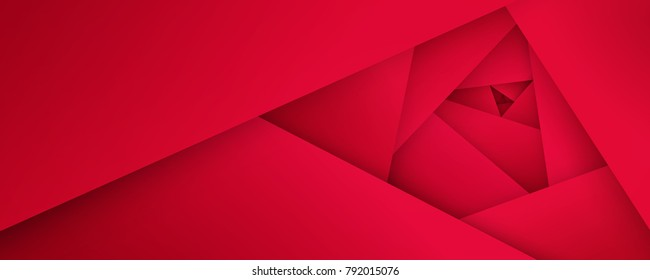 Abstract flower background. Geometric red rose texture. Simple paper cut layers design, vector EPS10.