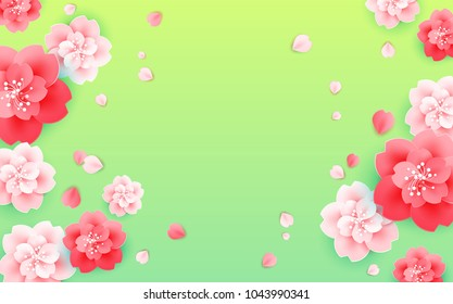 Abstract flower background vector - with a space for text - green, red, pink color