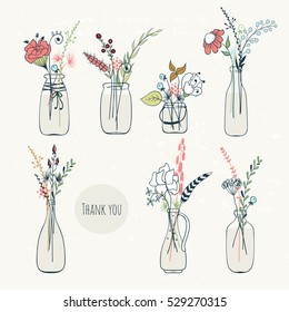 Abstract flower bouquets in bottles. Vintage colors. Vector design elements.