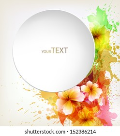 abstract flower with colorful elements, blots and place for your text. Vector design