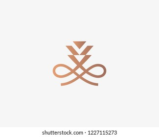 Abstract flower crown logotype. Hookah smoking logo.