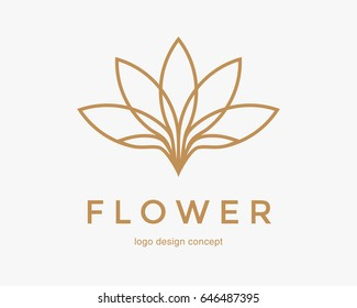 Abstract flower design. Line creative symbol. Universal icon. Lotus sign. Simple logotype template for premium business. Vector illustration.