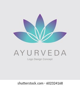 Abstract flower design. Silhouette creative symbol. Universal icon. Lotus yoga spa sign. Simple logotype template for premium business. Gradient background. Vector illustration.