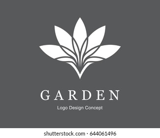 Abstract flower design. Silhouette creative symbol. Universal icon. Lotus sign. Simple logotype template for premium business. Vector illustration.